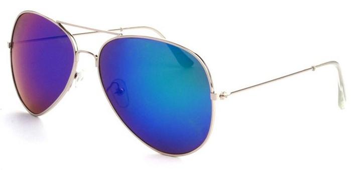 5b2bfa89ed2 Stříbrné tyrkysově zrcadlové sluneční brýle Aviator - Pilotky ...