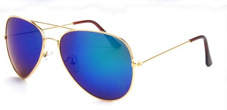 c2556faf5 Zlaté modře zrcadlové sluneční brýle Aviator - Pilotky   Stylové ...