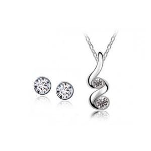 Bílý set náhrdelník + náušnice Swarovski elements Spirála  2e9bcd01029