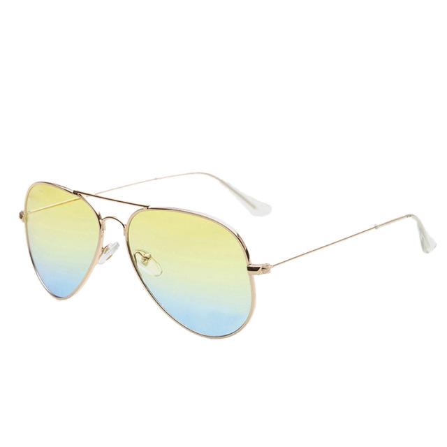 4a74abc88 Zlaté žluto - modré sluneční brýle Aviator - Pilotky | Stylové ...