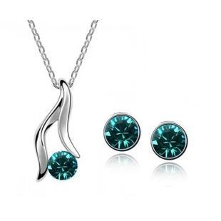 Tyrkysový set náhrdelník + náušnice Swarovski elements Victory empty 0f448f0af1c